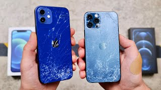 Apple iPhone 12 vs Apple iPhone 12 Pro DROP Test - 4x Stronger Ceramic Shield!