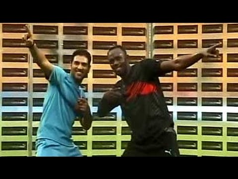 Usain Bolt faces off against Yuvraj Singh