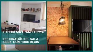 DECORAÇÃO COM 1000 REAIS: SALA GEEK | #STUDIOM4TRANSFORMA
