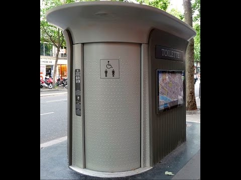 Fully automatic and self cleaning public toilet in Paris France