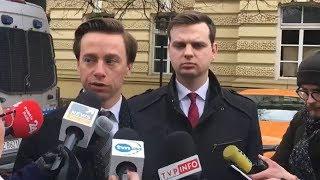 Krzysztof Bosak i Jakub Kulesza po spotkaniu z premierem Morawieckim