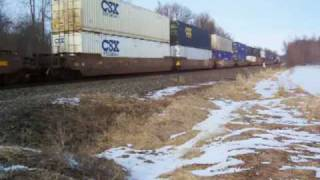 preview picture of video 'CSX Q157 at Lyons, NY 02-21-09'