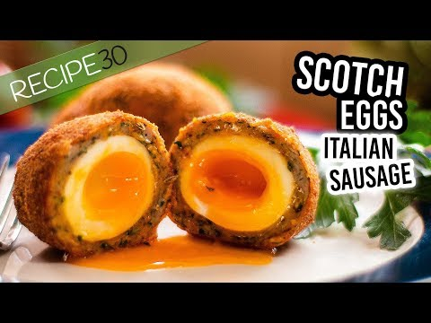 Scotch eggs with Italian sausage | Simple fried eggs and sausage recipe