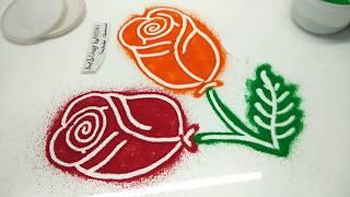 आपने पहले कभी नहीं देखा होगा की इतनी आसानी से रंगोंली में ROSE FLOWER बन सकता है