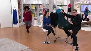 Isaac Mizrahi Live! Stretch Lace Hi-Low Hem Pleat Back Top on QVC