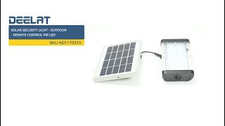Solar Security Light - Outdoor - Remote Control PIR LED     SKU #D1173510