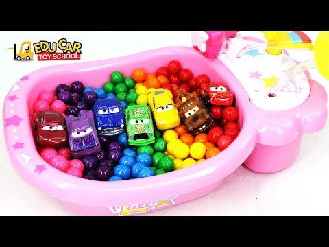 Learning Color Special Disney Pixar Cars Lightning McQueen Mack Truck Water Play for kids car toys