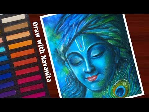 soft pastel painting of lord krishna by navanita