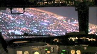 Night Approach Into Mexico City (Cockpit 737-200)
