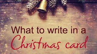 What to write in your Christmas cards
