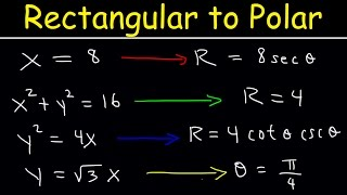 Rectangular Equation to Polar Equations, Precalculus, Examples and Practice Problems