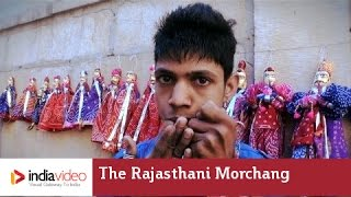 Artist playing the Rajasthani morchang