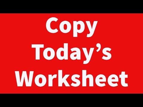 Copy Today's Worksheet