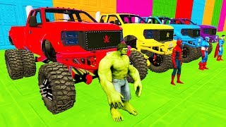 LEARN COLOR Monster Truck McQueen RACE w/ Superheroes Cartoon Nursery Rhymes for Children