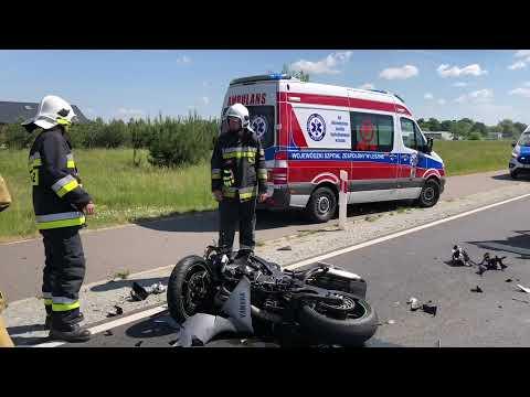 Wideo1: Motocyklista uderzył w bmw. Wypadek na trasie Gołanice - Jezierzyce Kościelne