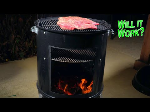 Convert Weber Smokey Mountain into Santa Maria grill to burn wood logs | tri-tip over real wood fire