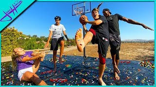 BASKETBALL on LEGOS... BAREFOOT!