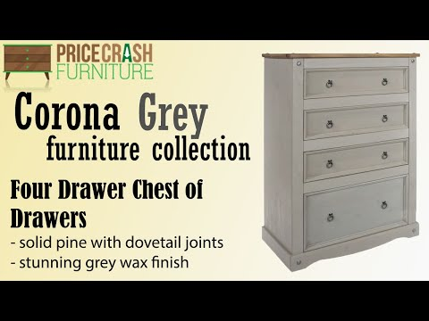 Core Products Corona Grey Washed 4 Drawer Chest Of Drawers