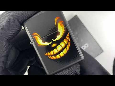 28439 Зажигалка Zippo Scary Jack O Lantern, Black Matte