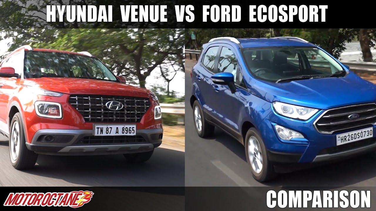 Motoroctane Youtube Video - Hyundai Venue BS6 vs Ford Ecosport BS6 2020 Comparison   Hindi   MotorOctane