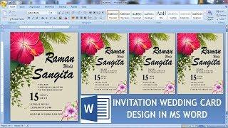 Wedding Invitation Card Design In Ms Word    Sadiki Card Banaya Ms Word Me