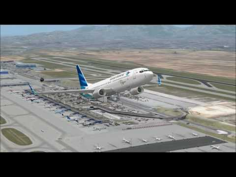 BOEING 737 800 GARUDA INDONESIA AIRLINES TAKE OFF FROM ATHENS INTL AIRPORT FS9 HD
