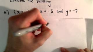 Evaluating Algebraic Expressions for Given Values of X and Y