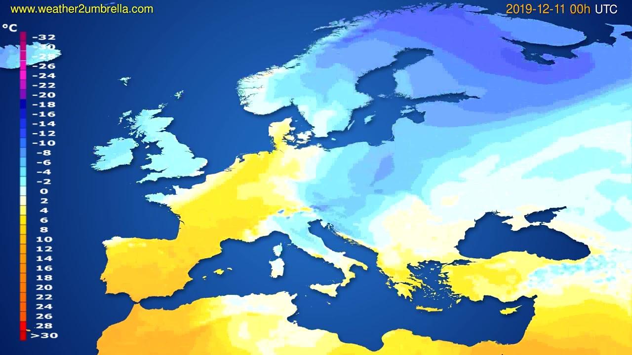 Temperature forecast Europe // modelrun: 00h UTC 2019-12-10