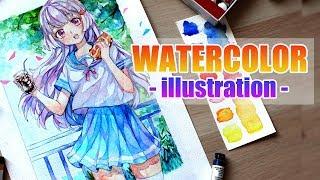 Watercolor Painting Timelapse Manga Girl | YUMMY #2