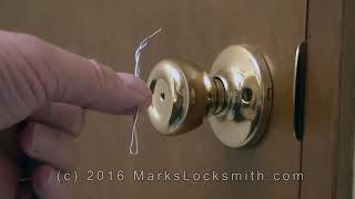 How To Unlock The Kwikset Bedroom / Bathroom Lock with a Paper Clip