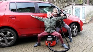 Twin Boys VACUUMING DIRTY CAR Carpets ~ Henry Hoover SOUND & Numatic Vacuum Cleaner DEMONSTRATION