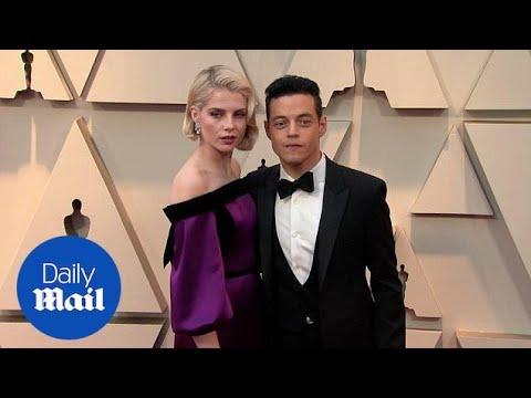 شاهد رومانسية رامي مالك وحبيبته لوسي بوينتون على سجادة أوسكار 2019