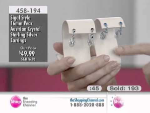 Sigal Style Sterling Silver Austrian Crystal Earrings at The Shopping Channel 458194