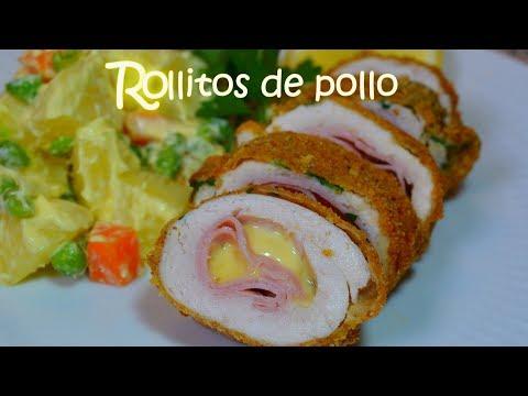 Rollitos de pollo rellenos con jamón y queso FÁCIL cordon bleu