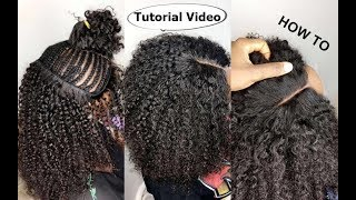 HOW TO : Natural Hair Sew-in WEAVE No Leave Out Tutorial Video For BEGINNERS