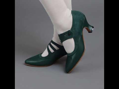 PRE-ORDER Mae Edwardian Shoes (Green)(1900-1925)