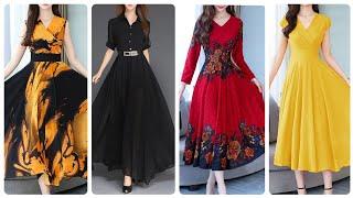 Most Running Chiffon Floral Printed Plain Maxi Dresses V Neck Asymmetric Chiffon Dresses