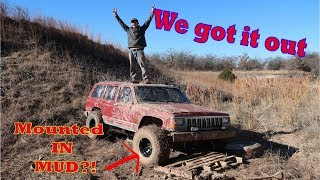 Installing Mud Tires On Jeep ALREADY Stuck In Mud