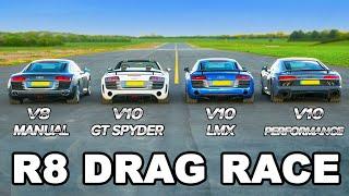 Audi R8 generations 2006-2019 - DRAG RACE, ROLLING RACE & BRAKE TEST!