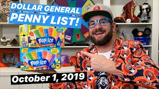 NEW DOLLAR GENERAL PENNY LIST - Tuesday October 1, 2019