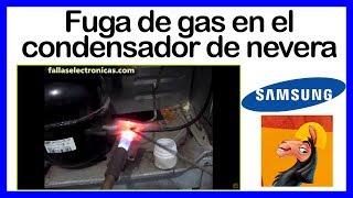 Fuga de gas en el condensador refrigeradora SAMSUNG