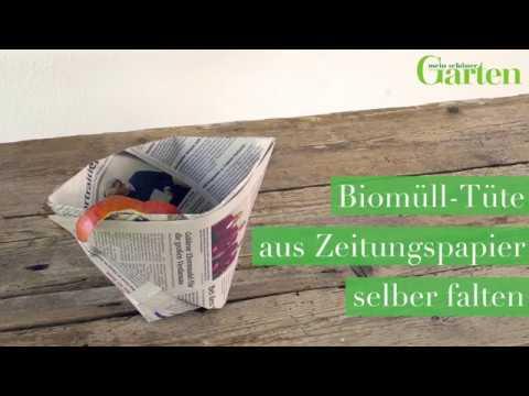 Bastelanleitung: Tüte für Biomüll aus Zeitungspapier falten
