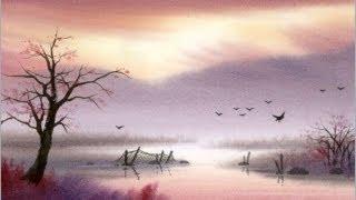 Смотреть онлайн Как рисовать самый простой пейзаж акварелью поэтапно