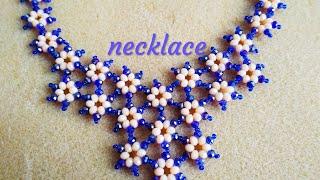 Beaded necklace.DIY. Цветочное колье.