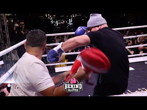 ANDY RUIZ'S SCARY POWER & INCREDIBLE SPEED COMBO PADS ON SHOW AT PUBLIC WORK OUT IN SAUDI ARABIA!