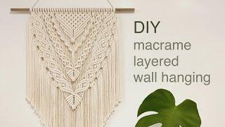 DIY TUTORIAL Macrame Layered Wall Hanging Diamond Pattern | 마크라메 레이어드 월 행잉 다이아몬드 패턴