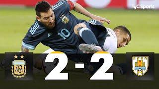 ARGENTINA EMPATÓ CON URUGUAY La Selección igualó 2-2 en Tel Aviv. Cavani abrió el marcador, el Kun Agüero lo empató; Luis Suárez puso en ventaja a la Celeste nuevamente de tiro libre y Messi lo empató de penal, sobre el final.