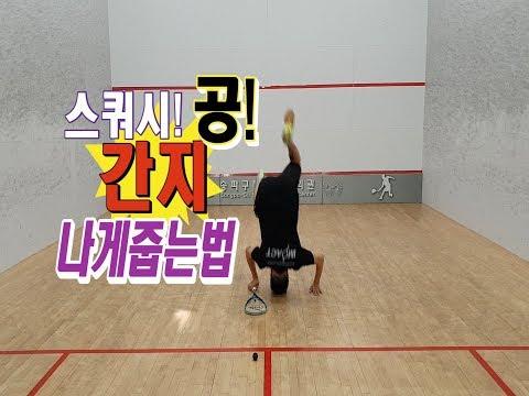 [영훈TV]스쿼시 공 간지나게 줍는방법 공유