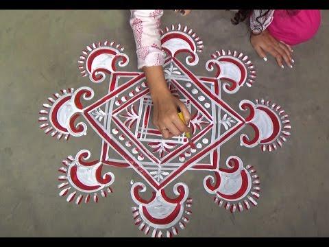 creative chowkpurna rangoli designs with 7x7 dots