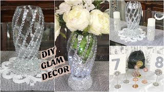 DIY DOLLAR TREE BLING WEDDING DECOR 2019 | WITH GLAM TABLE NUMBER HOLDERS FT. TOTALLY DAZZLED 💎